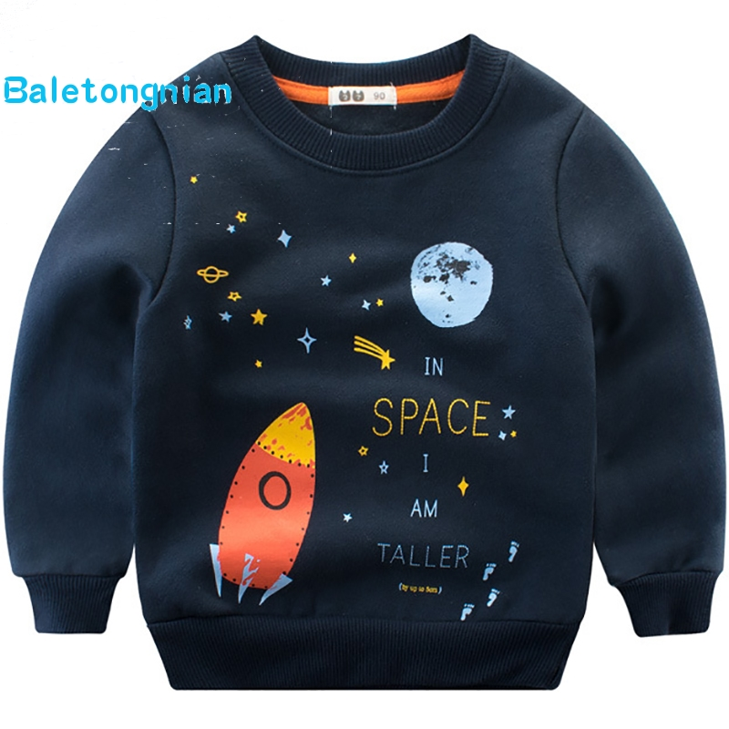 BALETONGNIAN Little Boys Long Sleeve Shirt Toddler Cotton Tops Pullover Sweatshirt for Kids 2Y-6Y