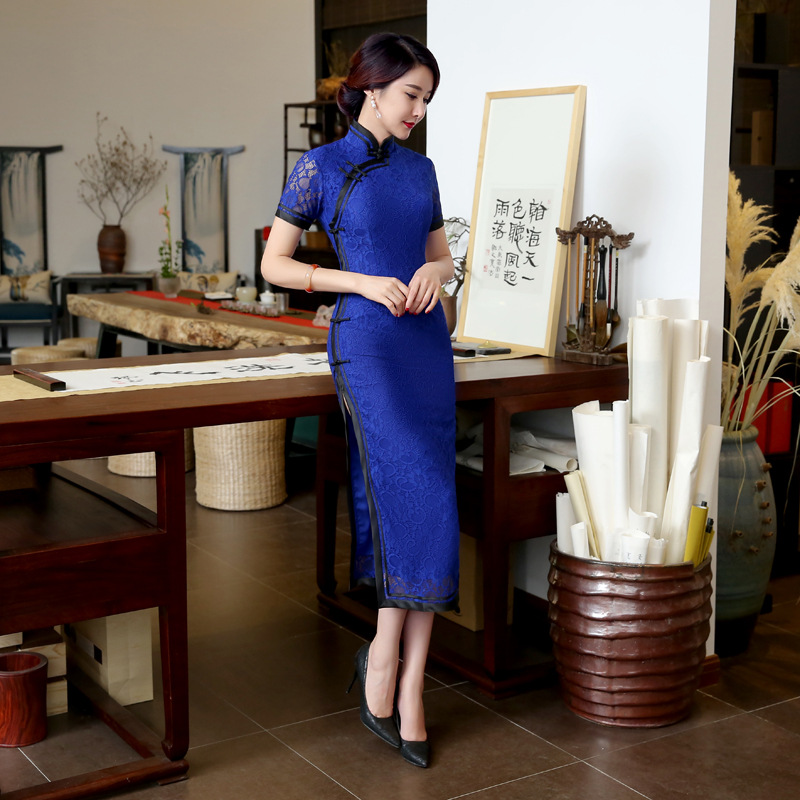 Blue Vintage font b Women s b font Lace Long Cheongsam font b Fashion b font