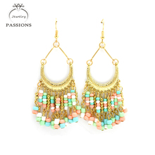 PASSIONS 2017 Bohemian Ethnic Earrings Maxi Brincos Colorful Long Drop Earrings Retro Gold Plate Bead Tassel Earings For Women