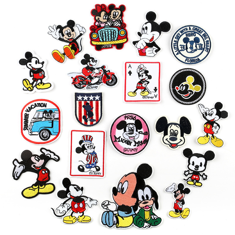 1pc New Arrival Lovely Cartoon Micky Mouse Embroidered Patch Kid Trouser Tshirt Iron On Patches For Clothing Apparel Accessories