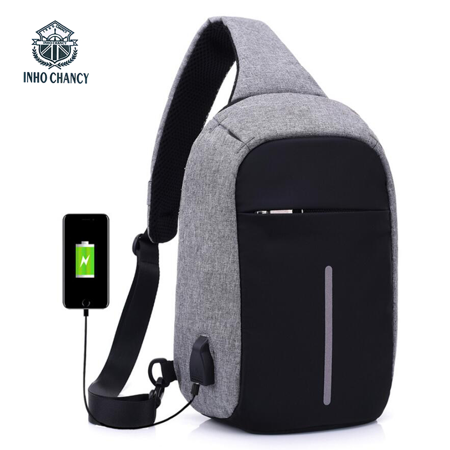 INHO CHANCY backpack school bag for teenagers design frame USB Charge Computer Backpacks Anti-theft Waterproof for Men Women
