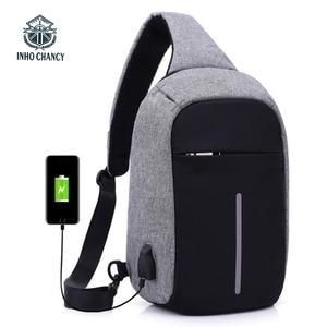 Image 1 - INHO CHANCY backpack school bag for teenagers design frame USB Charge Computer Backpacks Anti theft Waterproof for Men Women