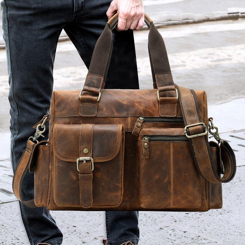 """빈티지 크레이지 호스 가죽 남자 핸드백 멀티 포켓 15 """"노트북 가방 작은 짧은 여행 정품 가죽 남자 여행 가방-에서여행 가방부터 수화물 & 가방 의  그룹 1"""