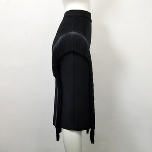 Image 2 - High Quality Sexy Tassel Knee Length Bandage Skirt 2018 Knitted Sweet Designer Pencil Skirt