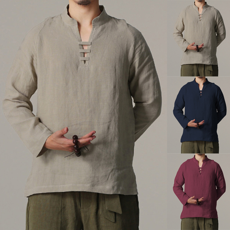 INCERUN Plus Size Chinese Style Men Shirts Long Sleeve Slim Fit Shirts V-neck Blouse Cotton Linen Tops Camisa Masculina 5XL 2019