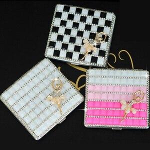 12 color (20pcs*84mm cigarettes) woman cigarette box case metal exquisite rhinestone Gift(China)