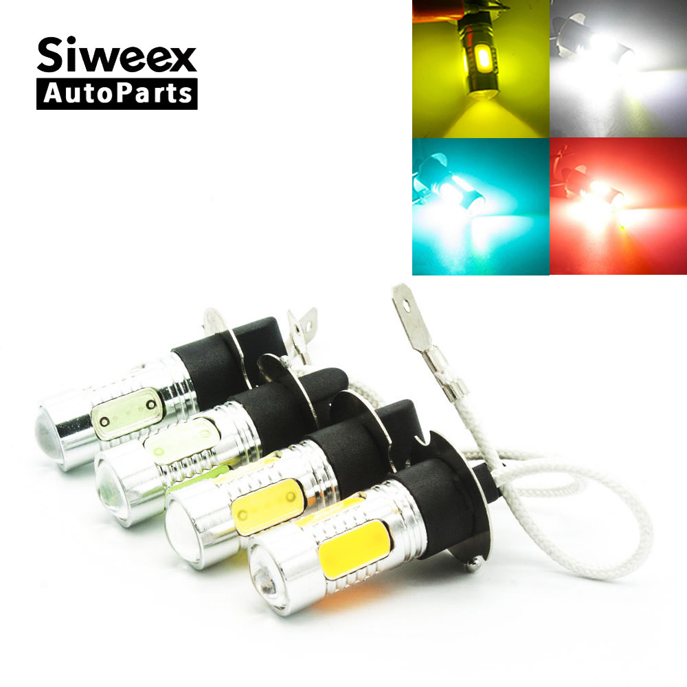 1 PCS H3 COB LED PK22S Fog Lamp Light For Car Styling Red Iceblue White Yellow High Power Bulbs DC 12V