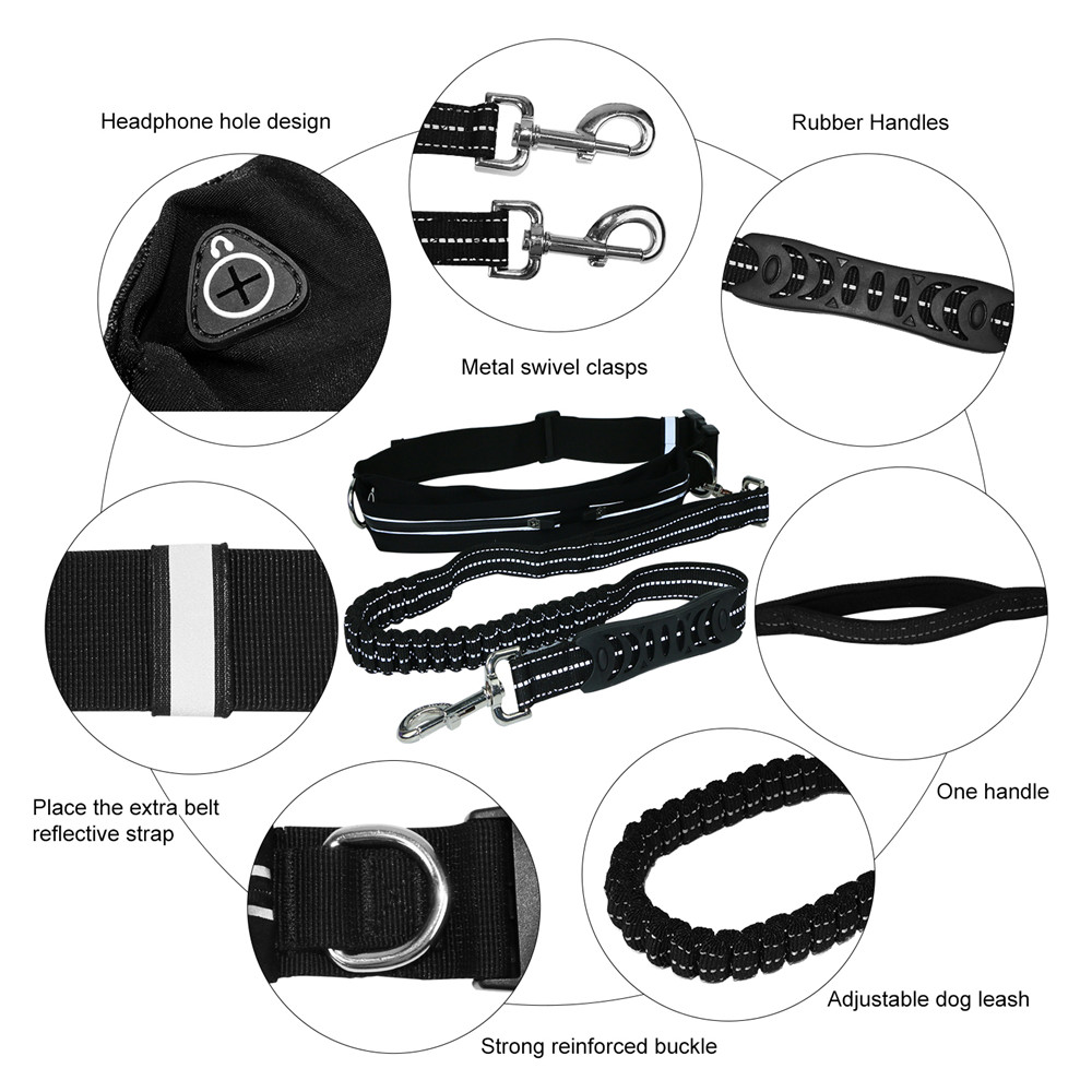 Dogs Leash Running Elasticity Hand Freely Reflective Nylon Adjustable Walking Dual Bungees for up to 110 lbs Dogs