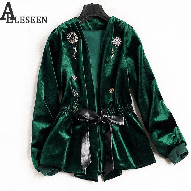 UK Winter New Style Beading Luxury Cardigan Jackets 2018 Long Sleeve Green Black Spring Flower Velvet