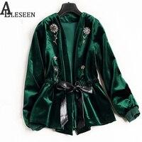 UK Winter New Style Beading Luxury Cardigan Jackets 2018 Long Sleeve Green / Black Spring Flower Velvet Beaded Jacket Women