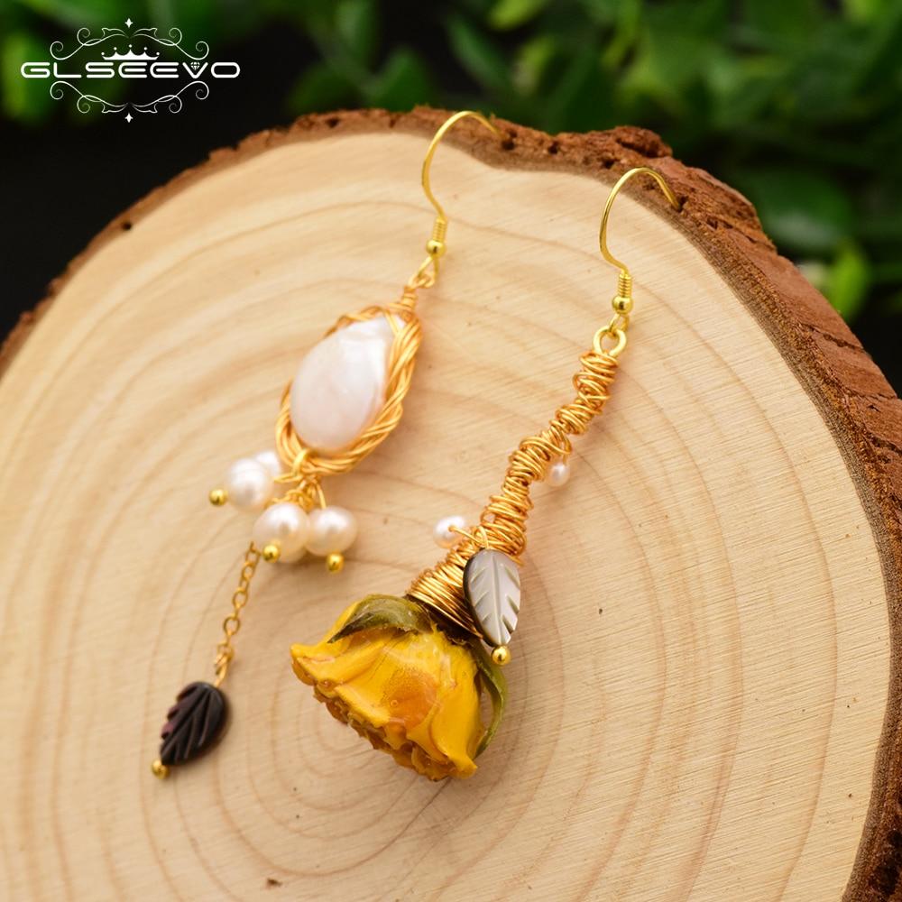 GLSEEVO Natural Fresh Water Pearl Really Flower Handmade Asymmetric Drop Earring For Women Dangle Earrings Luxury Jewelry GE0593