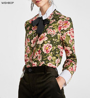 WISHBOP NEW 2018 Spring Summer Woman Fashion Green Floral Printing Shirt Collar WITH BOW Cuffs PEARL