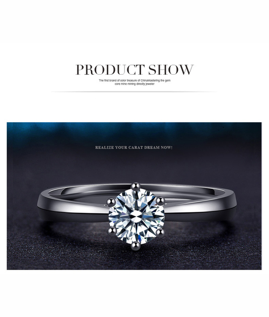 100% 925 Sterling Silver Woman CZ Crystal Wedding Engagement Finger Rings Super Shinning Cubic Zirconia Fine Jewelry 3