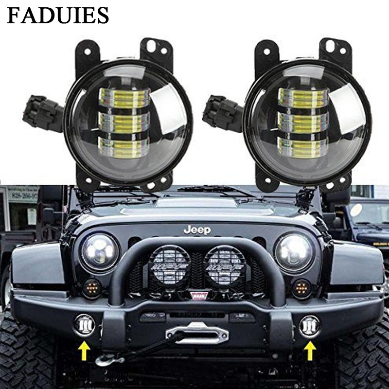 FADUIES 4 Led Fog Lights 4inch Led Fog Lamps Bulb Driving Offroad Lamp For Jeep Wrangler JK Dodge Chrysler Front Bumper