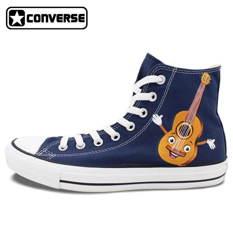 Prix pour Bleu Converse All Star Femmes Hommes Chaussures Dessin Animé de Notes Musicales Guitare Custom Design Peint À La Main Toile Sneakers Garçons Filles Cadeaux