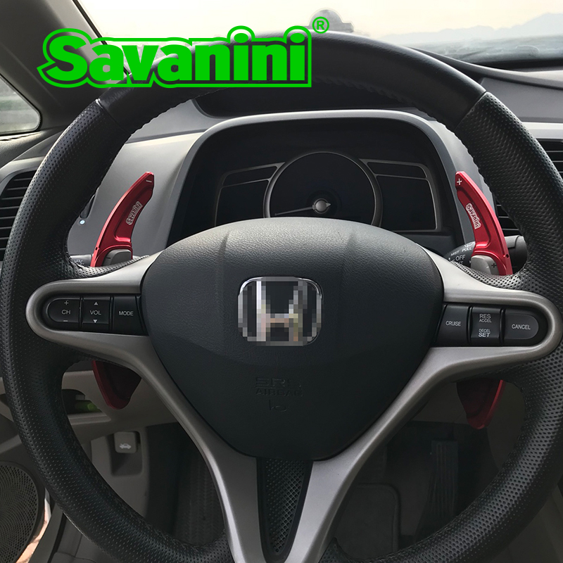 Savanini 2pcs Aluminum Steering Wheel Shift Paddle Shifter extension for Honda Fit(2009-2013) and Civic(2009) Auto Car styling 2pcs universal aluminum alloy 4 and 5 lug 5mm thickness wheel spacer gasket for car auto