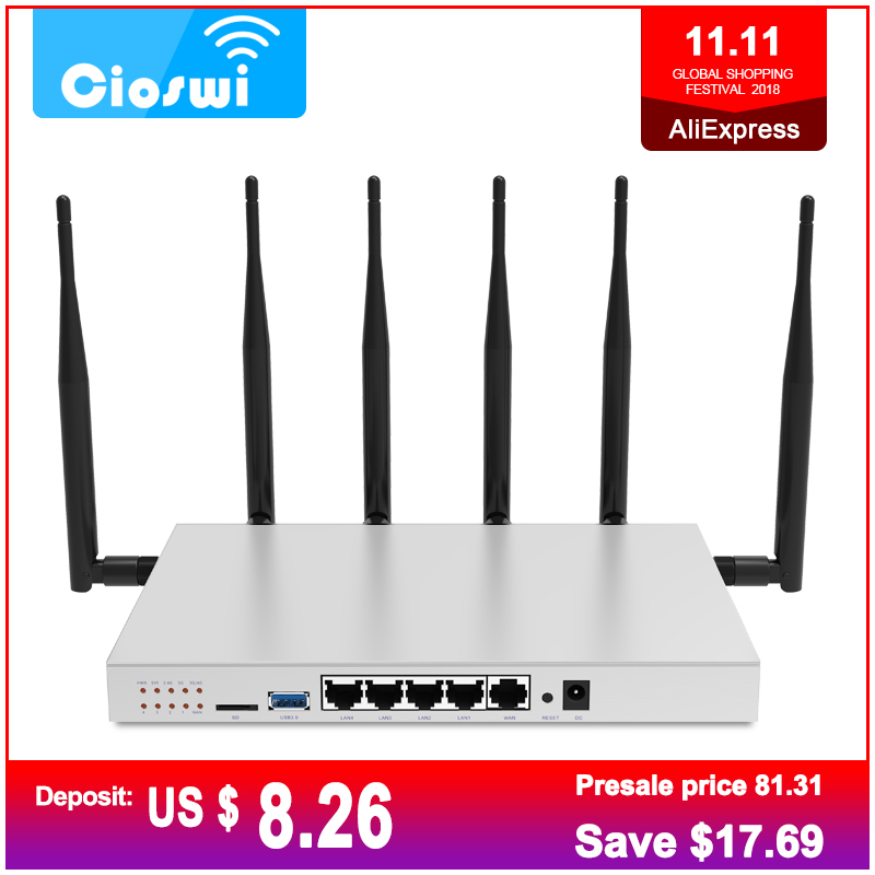 802.11AC 3g 4g SIM Card Router 2.4G 5G Dual Band Gigabit OpenWrt Router WiFi Built-In Mini PCI-E Slot SATA 3.0 1200Mbps Hot Sale цена
