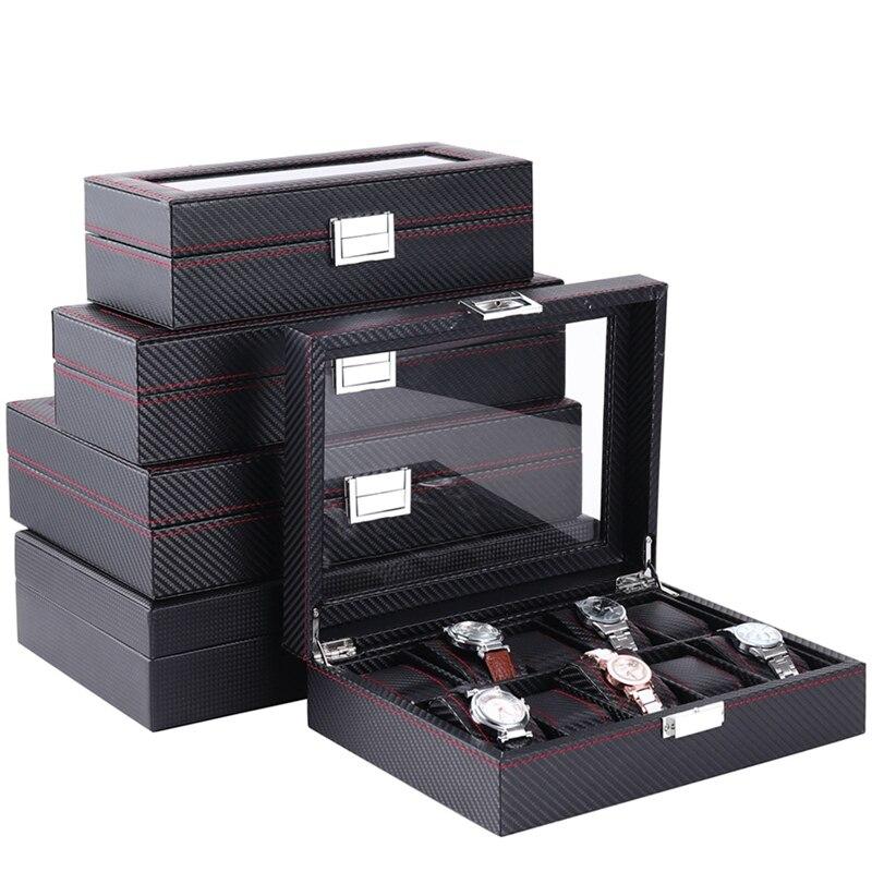 5/6/10/12 Slot/grille montre boîte en cuir bois affichage conteneur en Fiber de carbone boîte de rangement de haute qualité organisateur de voyage