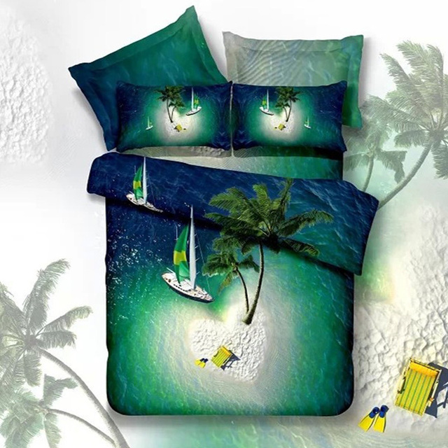 Green Heart River Island Palm Tree Sailboat 3D Bedding Sets Queen Size  Quilt Cover Bedsheets Pillowcase