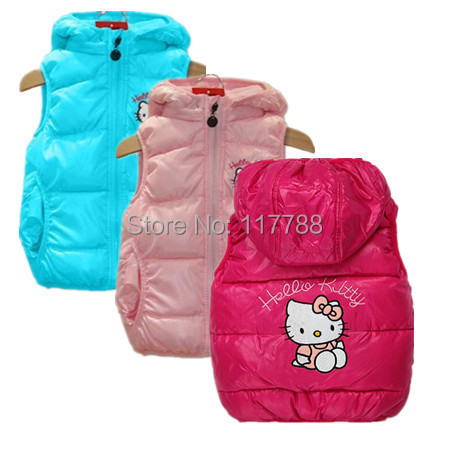 Retail New 2015 autumn/winter Hello Kitty Girls Children Vest&Coats,Hoodies,waistcoat for Girls Children baby clothing