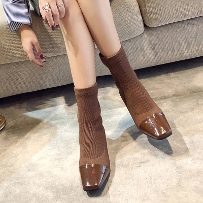 NEW Shoes Women's Boots Pointed Toe Yarn Elastic Ankle Boots Thick Heel High Heels Shoes Woman Female Socks Boots 2018 Spring xiuningyan women s boots round toe elastic ankle boots thick heel high heel shoe woman female fashion stretch socks boots winter