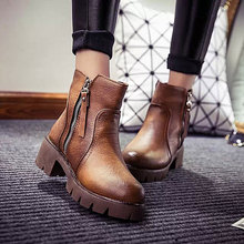 2016 Women Plush Martin Snow Boots Autumn Winter warm fur Shoes Woman Ankle Boots Waterproof 5cm Block High Heels Botas Mujer
