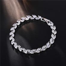FYM Fashion Brand 7 Colors Plant Bracelets & Bangles Cubic Zirconia Femme Bracelets Wedding For Women Party fym brand 19cm 3 colors silver plated bracelets