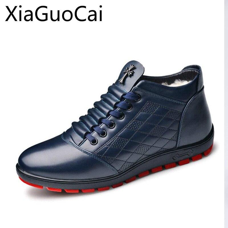 Genuine Leather Winter Men Boots Lace-up Plush Fur Snow Boots For Men Flat Shoes Blue Leather Male Boots Z500 35