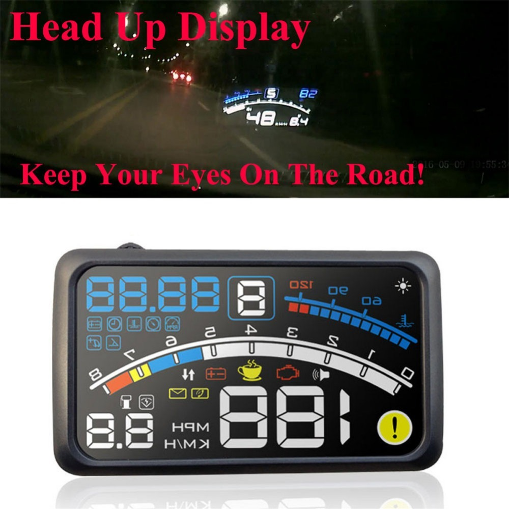 5.5 Screen Auto OBDII Car HUD OBD2 Port Head Up Display System + Bracket KM/h MPH Overspeed Warning Windshield Projector Alarm a8 car hud head up display car speedometer 5 5 inch windscreen projector obd2 code reader speed alarm voltage mph km h display