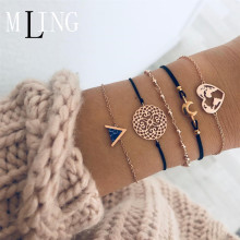 MLING 5 Pcs/Set Fashion Multilayer Triangle Patterned Wafer Moon Heart World Map Bracelet Charm & Bangles Jewelry