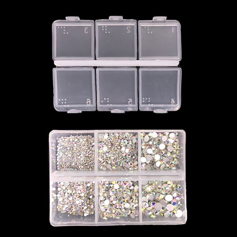 1 Box 1688Pcs AB Color Nail Rhinestone Clear Flat Bottom Multi-size Glass Gems DIY Manicure Nails Art 3D Decorations Accessories