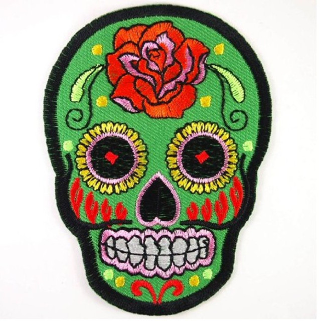 US $0 68 31% OFF 2018 Limited Direct Selling Handmade Eco friendly Iron on  Parches Stickers 1pc Green Rose Mexican Sugar Skull Iron On Patches -in