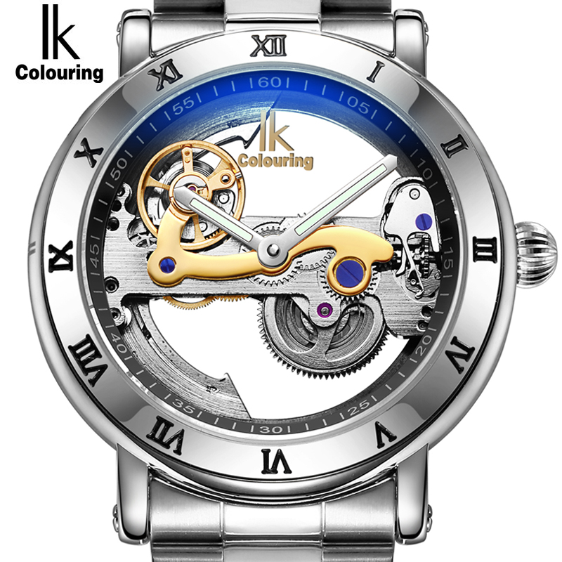 IK Hollow Automatic Mechanical Watches Men Brand Luxury Stainless Skeleton Transparent Watch 50m waterproof Relojes masculinos alike 2015 50m relojes 14109