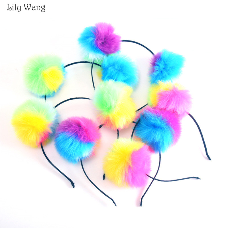New 2018 Prom Pom Ball Headbands Girls Hair Head Hoops Bands Big Artificial Fur Balls Hairband   Headwear   Gril Hair Accessories