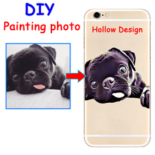 Custom Painting style Print image hollow hard phone case cover for Samsung s8 s9plus S7e for iPhone 7 6s 8plus 5s X XS XR XSMAX