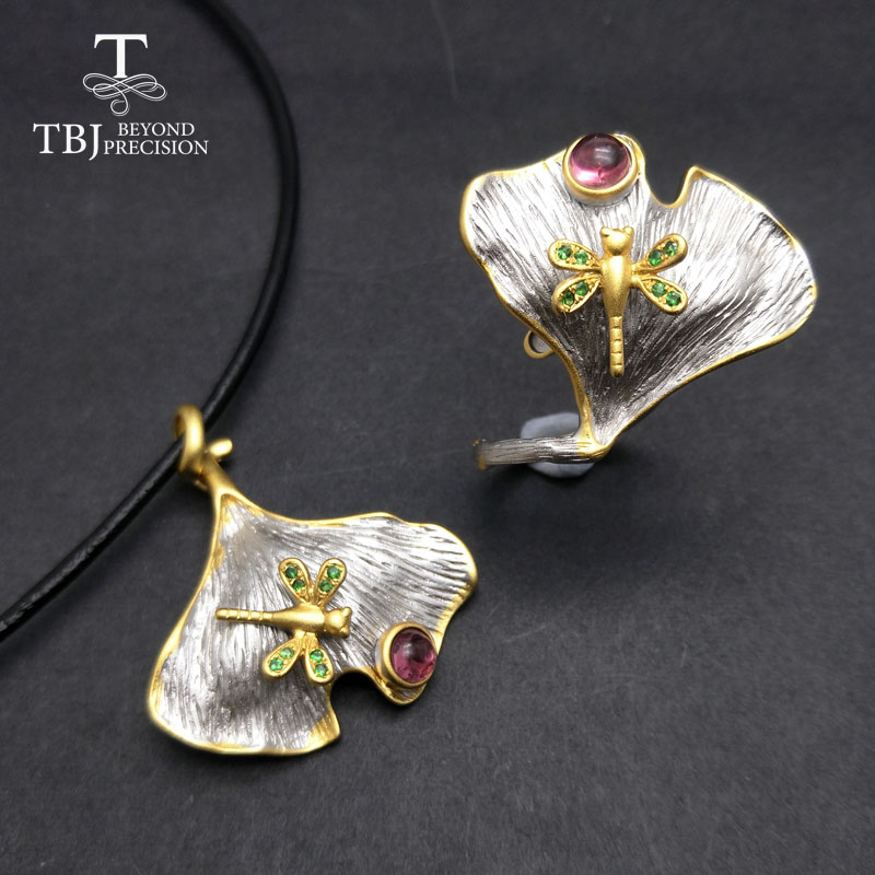 TBJ,natural pink tourmaline and tsavorite sets in 925 silver grey and yellow color best  ...