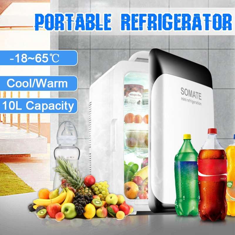 10L Refrigerator Mini Fridge Compressor DC12V/AC220V Portable Car Auto-Refrigerator Car Fridge Camping Freezer -18-65 Degrees