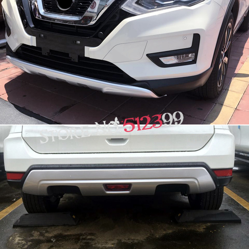 Exterior Front + Rear Tail Bumper Cover Protector Skid Plate Guard Cover Trim  ABS Style For Nissan X-trial Rogue 2014 2015 2016 2014 2015 for nissan rogue x trail rear tail licence plate cover trim trunk frame cover trim chrome