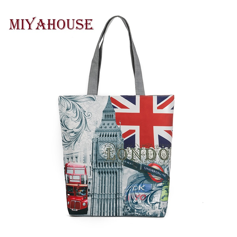 Wholesale Female Canvas Shoulder Bag European Style Tower Printed Canvas Handbag Tote Women Casual Beach Bag Single Shopping Bag