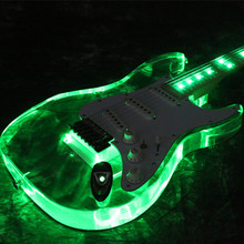 Free shipping newArrivel  Electric Guitar Pink LED acrylic guitar green color good quialty more color can choose цена