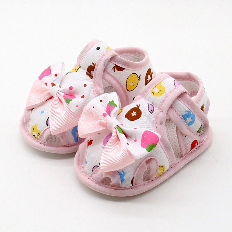 Summer Toddlers Baby Cute Bow Soft Sole Shoes Kids Baby Girls Shoes Skid Proof Princess Shoes