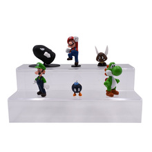 цены 6 Styles/set Anime Figura Super Mario Bros Yoshi Luigi Goomba Mine PVC Action Figure Doll Boxed Collectible Model Baby Toy