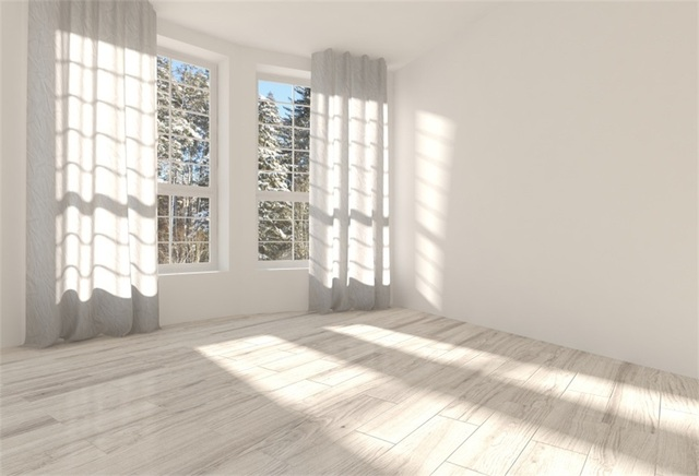 Laeacco White House Wooden Floor French Sunshine Curtain Window