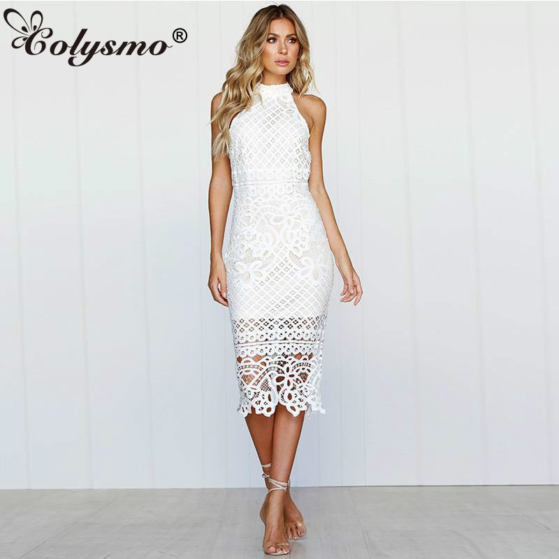 Colysmo Long Summer Dress 2018 Sleeveless Halter White Lace Dress Sexy Party  Dress Midi Bodycon Ladies 26048d43a0ca