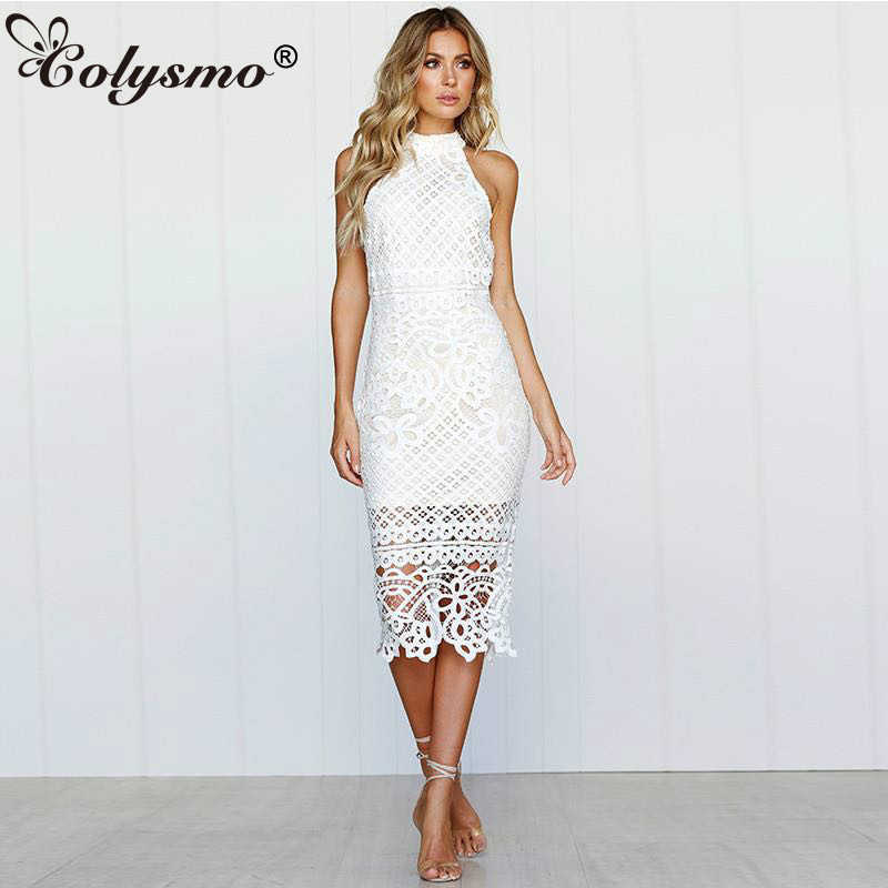 2164fc836eb Colysmo Long Summer Dress 2018 Sleeveless Halter White Lace Dress Sexy  Party Dress Midi Bodycon Ladies