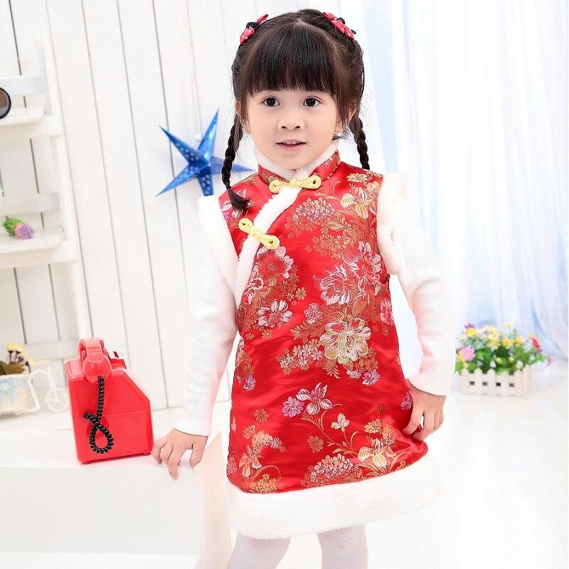 Зимние пальто для маленьких девочек, праздничный жилет, пуховик для девочек, платья Qipao, детская верхняя одежда в китайском стиле, плотная одежда, жилет - Цвет: Черный
