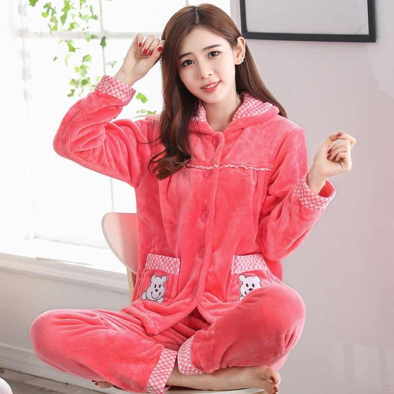 Пижама с длинными рукавами для девочек, Женский фланелевый теплый домашний костюм для студентов, утолщенная бархатная пижама с длинными рукавами, D-2050