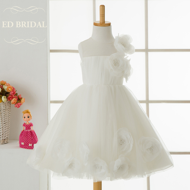 a44a990328a Illusion Neckline Tulle Flower Girl Dresses Kids Evening Gowns First  Communion Dresses for Girls