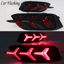 Car Flashing 1Pair For Honda Civic 2016 2017 LED DRL Rear Bumper tail light fog lamp Brake Lights Signal lamp DRL reflector(China)