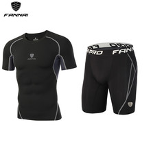 2018 Summer Men Sports Suits Mens Fitness Running Sets Compression Tights Workout Sportswear Soccer Jogging Gym Clothes